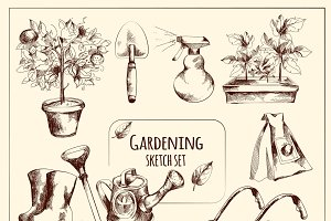 Gardening instruments sketch set
