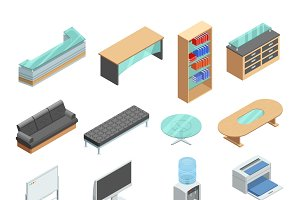 Office furniture isometric icons