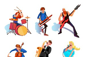 Musicians cartoon set