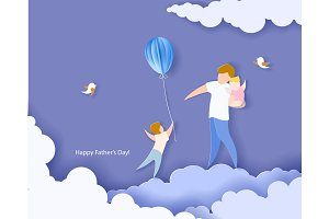 Happy fathers day card. Paper cut style.