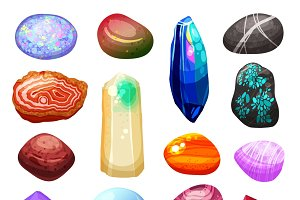 Bright multicolored crystal stones