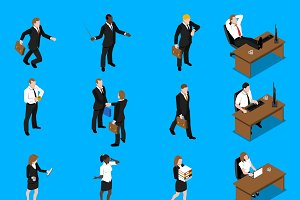 Business people isometric icons