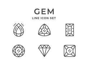 Set line icons of gem