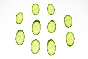 oval cucumber on the white background from the top
