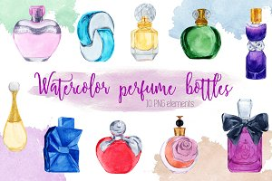 Watercolor perfume bottles