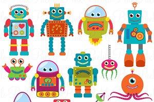 Retro Robots Clipart & Vectors