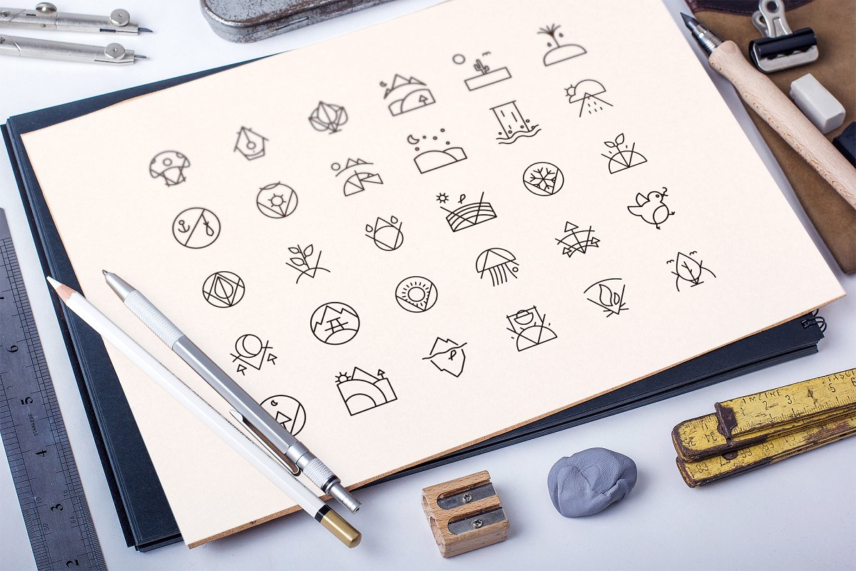 Nature Minimalist Icons Set