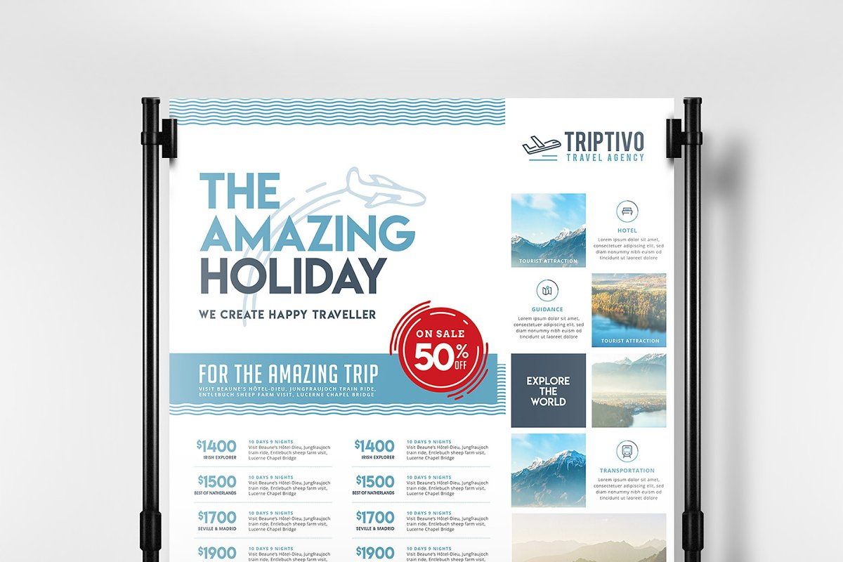 Travel Company Poster Template Flyer Templates Creative Market