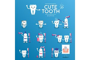 Cute happy smiling tooth set