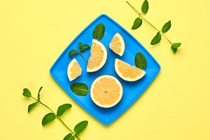 Lemon Fresh Fruit.Mint. Vegan Food Concept.Minimal