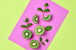 Kiwi Fresh Fruit. Vegan Food Concept. Minimal