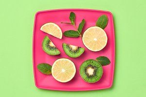 Lemon Kiwi. Fresh Fruit.Vegan Food Concept.Minimal