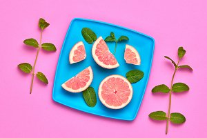 Grapefruit Fresh Fruit. Vegan Food Concept.Minimal