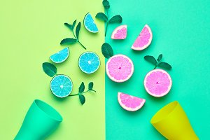 Citrus Fresh Fruit. Vegan Food Concept. Minimal