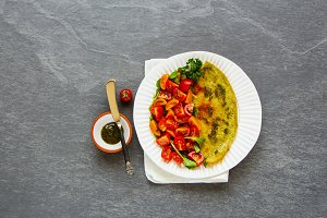 Omelette with pesto sauce