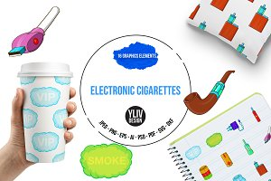 Electronic cigarettes icons set