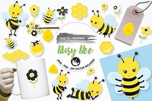 Busy bee graphics and illustrations