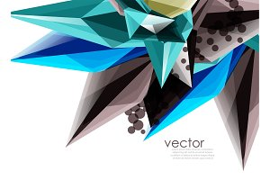 Color glass crystals on white background, geometric abstract composition with glass gemstones and copyspace, background template