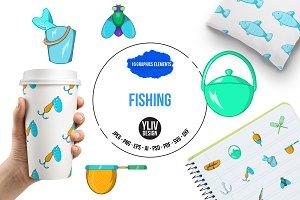 Fishing icons set, cartoon style