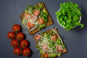 Avocado toast. Sandwich with avocado