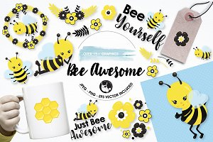 Bee awesome graphics illustrations