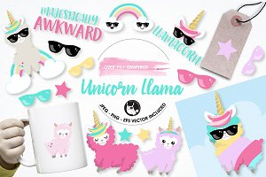 Llama unicorn graphics illustrations