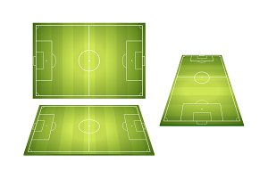 Set Of Football Soccer Fields