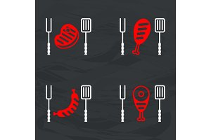 Barbecue meat icon for icons