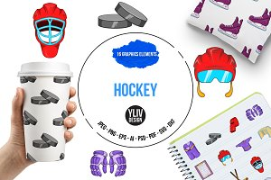 Hockey Icons set, cartoon style
