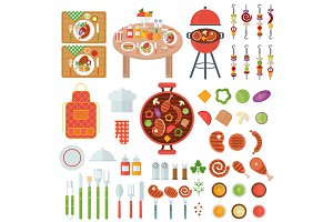 bbq food and cooking utensils