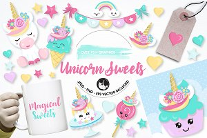 Unicorn sweets graphics illustration