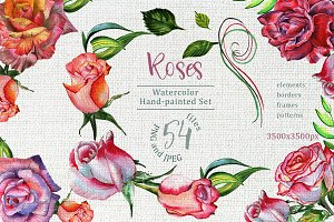 Wonderful roses PNG watercolor set