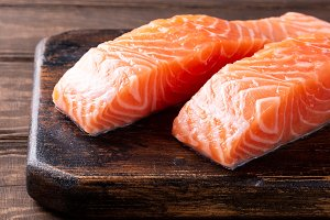 Fresh raw salmon fillet, flat lay