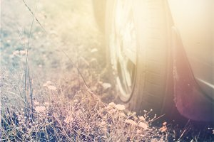 wheel of car closeup against background of meadow grass. Travel concept. Toned