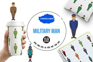 Military man set, cartoon style