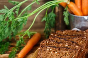 rye bread with vegetables (carrots)