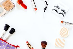 Cosmetics set on white background
