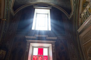Rays of light from the window inside the Orthodox church