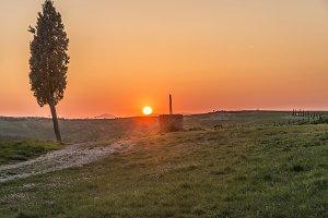 Dramatic Sunset at Tuscan farmlands