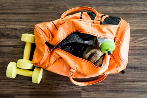 Sports bag with sports equipment