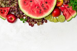 Fresh watermelon and fruits on white background