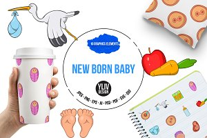 New born baby icons set