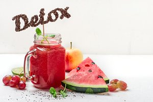 Detox watermelon smoothies and ingredients. The word detox from chia seeds