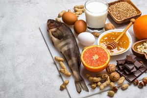 Selection of allergic food. Allergy food concept.