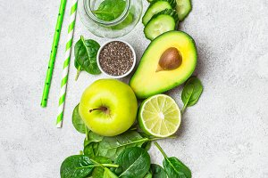 Ingredients for green smoothies. Healthy Diet Concept