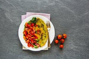 Pesto sauce omelette