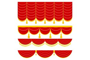 Lambrequin and pelmet for red curtains