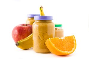 Baby food: Jar with fruit puree