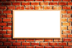 Mock up blank wooden picture frame