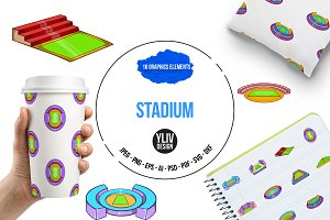 Stadium icons set, cartoon style
